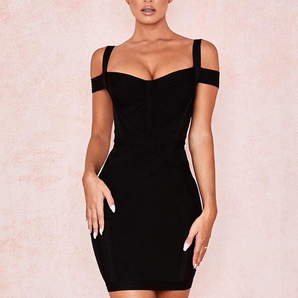 2020 Black Off The Shoulder Slash Neck Spaghetti Strap Bandage Dress Women Sexy Dresses Summer Bodycon Club Evening Vestidos