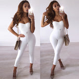 2020 Sexy White Night Out Jumpsuit Strapless Women Bodycon Bandage Jumpsuits Skinny Club Celebrity Party Playsuits