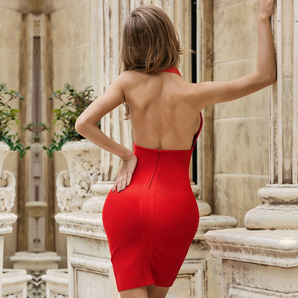 New Summer Red Halter Club Bodycon Bandage Dress Sexy Deep V Sleeveless Backless Celebrity Runway Party Dress Vestidos