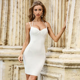 New Summer White Bodycon Bandage Dress Women Sexy Halter Sleeveless Mini Night Out Club Runway Party Dresses Vestidos