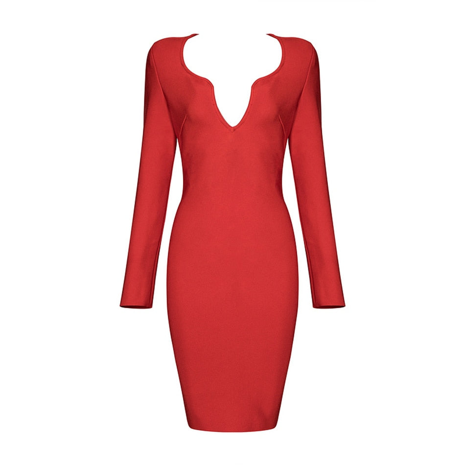 New Winter Dress 2020 Fashion Long Sleeve Bodycon Club Party Dress Women Runway Vestidos Sexy Evening Bandage Dresses