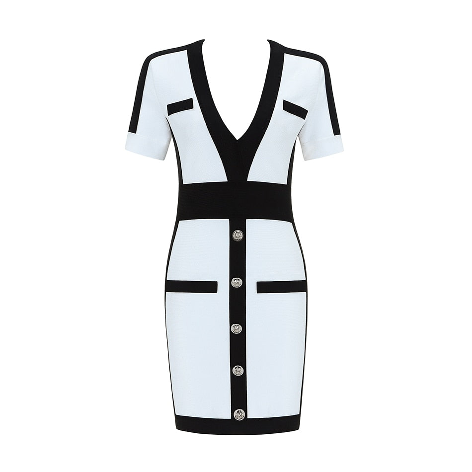 2020 Women Bandage Dress Fashion Short Sleeve White Bodycon Celebrity Party Dresses 2020 Sexy Club Summer Dress Vestidos