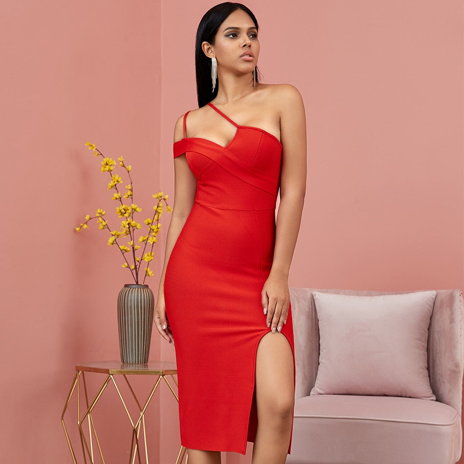 Seamyla Red One Shoulder Spaghetti Strap Bandage Dress Women Summer Sexy Bodycon Club Night Party Dresses Mid-Calf New Vestidos