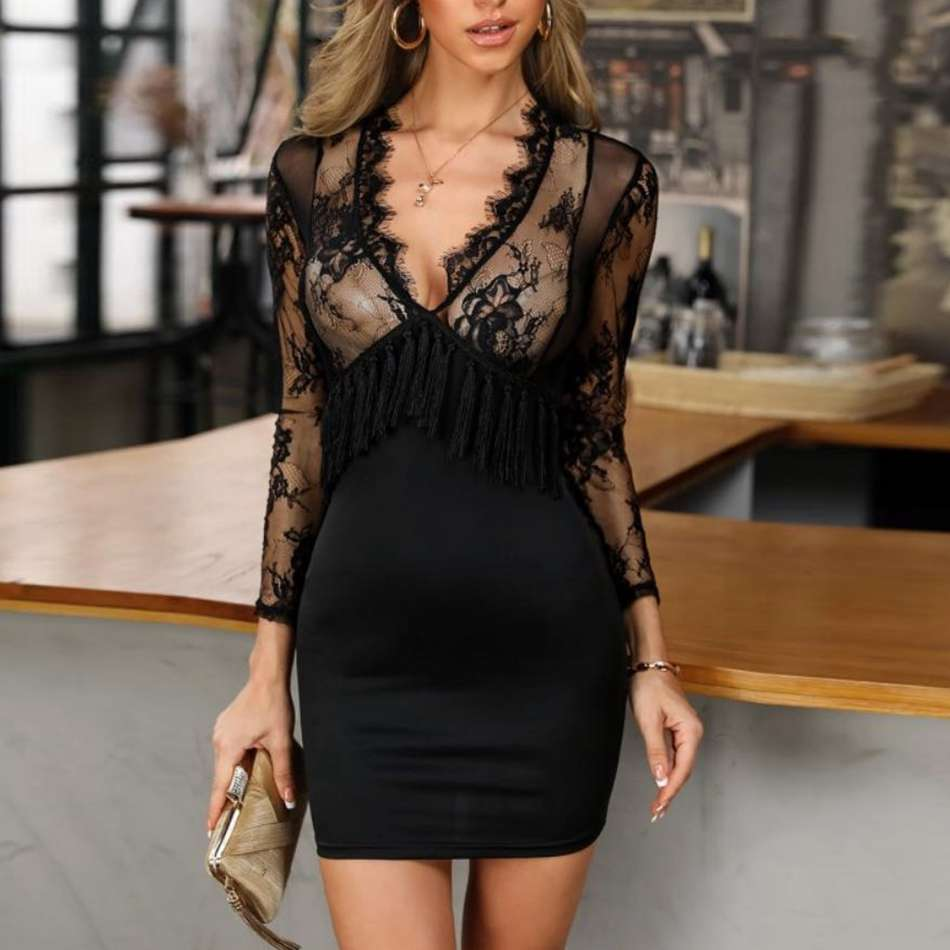 2020  Sexy Black Tassel Lace Mesh Long Sleeve V-Neck Summer Dress Women Night Club Bodycon Evening Party Dresses 2020 Vestidos