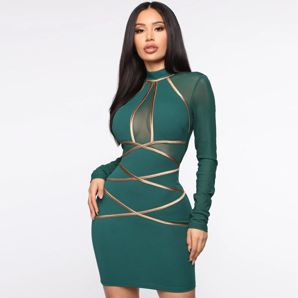 Sexy Green Mesh Hollow Out Long Sleeve Mini Dress Autumn Women Bodycon Elegant Evening Party Club Dresses New Vestidos
