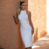 Sexy Women White Bandage Dress 2020 New Arrivals Striped Midi Bodycon Dresses Sleeveless Clubwear Party Dress Vestidos