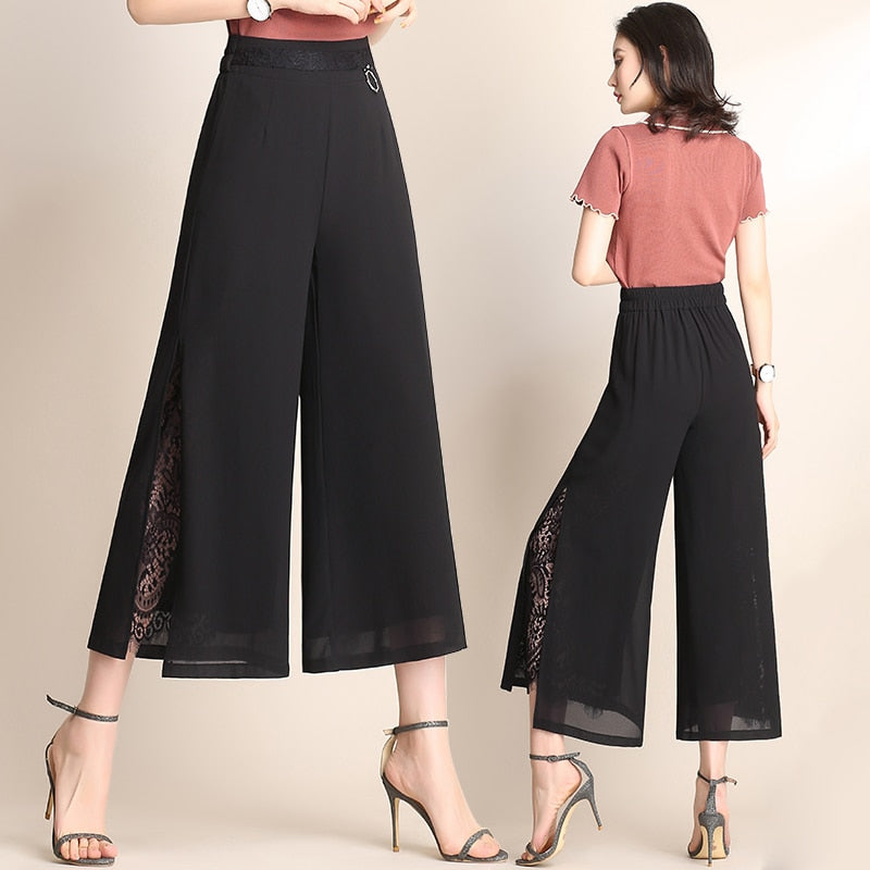 Seven Chiffon Wide Leg Pants Female Summer High Waist Slit Lace Pants Loose Straight Pants Lace Splice Womens Pants 168H