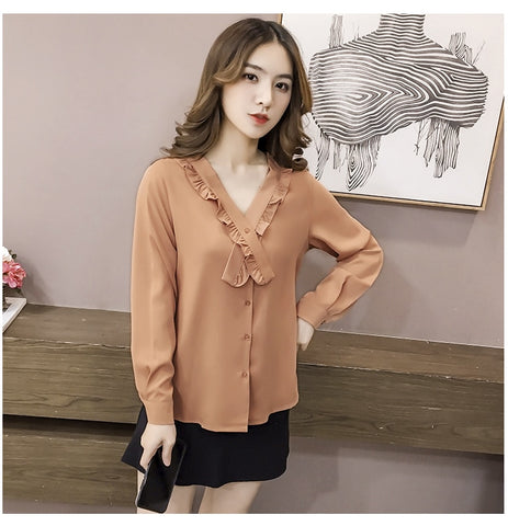 Spring 2020 Purple Fashion Sexy v-neck Long Sleeve Women Blouse Shirts office Shirts solid Shiny Tight Thin Blusa khaki Tops 12F