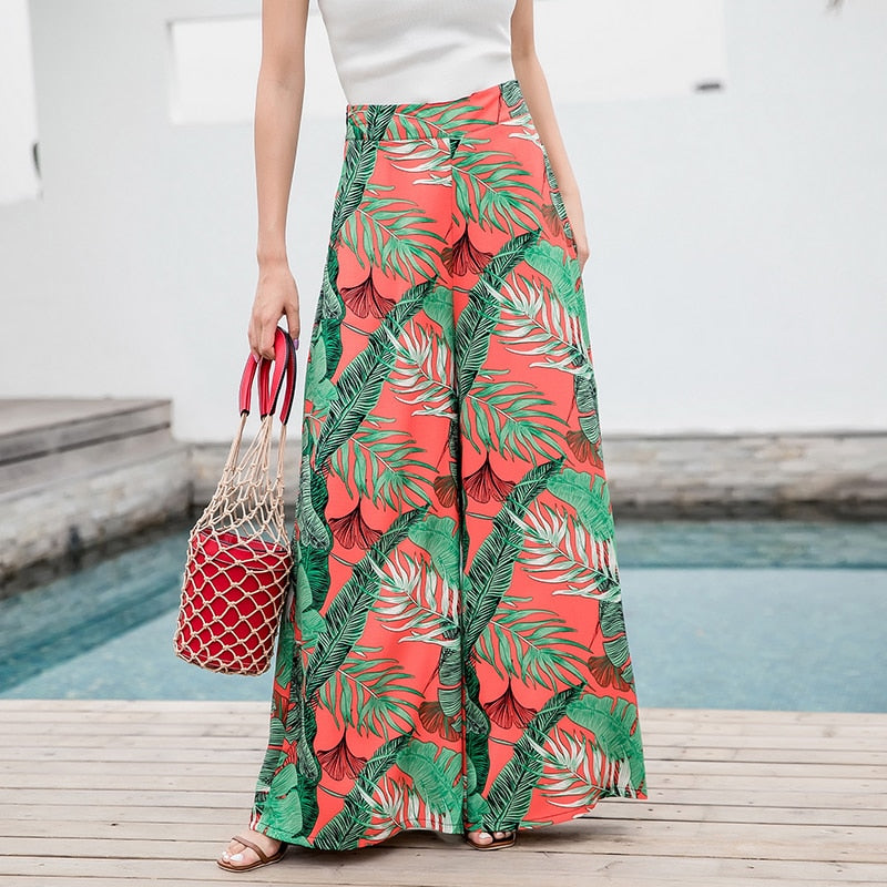 Summer 2020 With Pockets Holiday Bohemian Waist Belt Tropical Print Wide Leg Pants Slim All-match Slacks Female Pants A11F