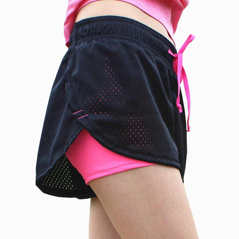 Double Layer Running Shorts Women Fitness Shorts Outdoor Summer Sport Female Athletic Jogging Shorts