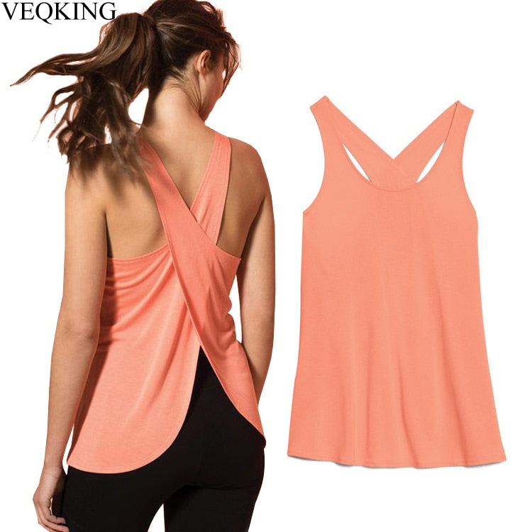 Women Cross Back Sleeveless Yoga Vest Shirt