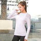 Women Mesh Patchwork Sport Shirt Breathable Long Sleeve Yoga Shirt Running Fitness Gym Top Ladies Sports Workout Jersey