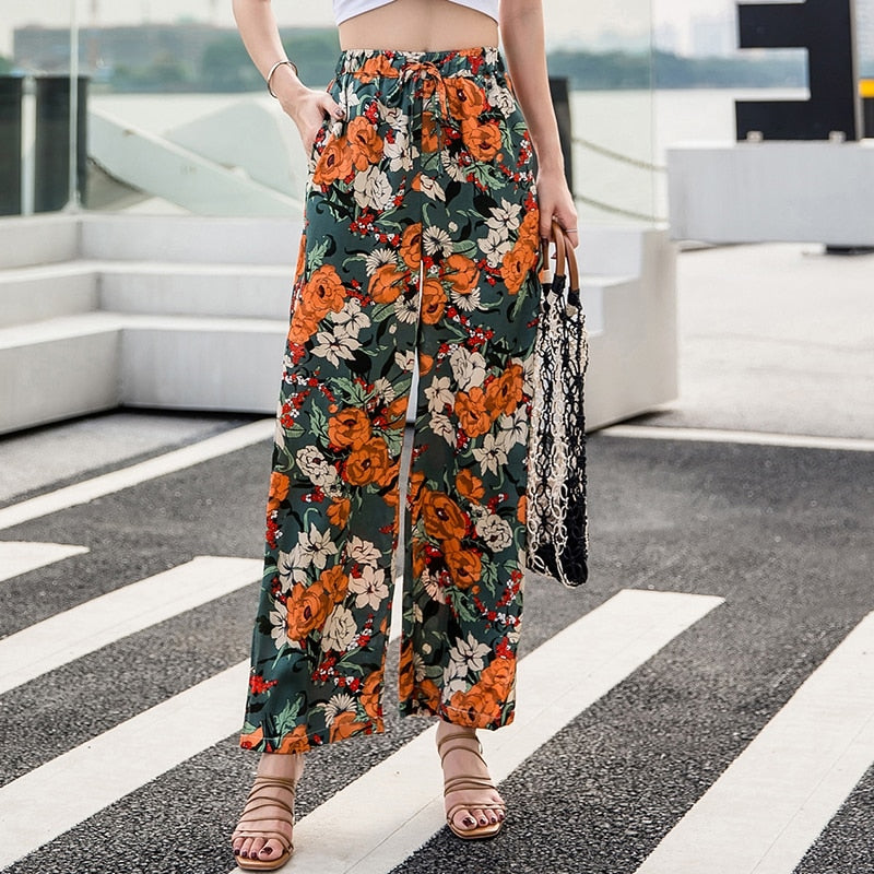 Vacation 2020 New Flower Women's Pants Chiffon Flowers Printing Holiday Bohemia Wide Leg Pants Fashion Beach Nine Pants 509H3