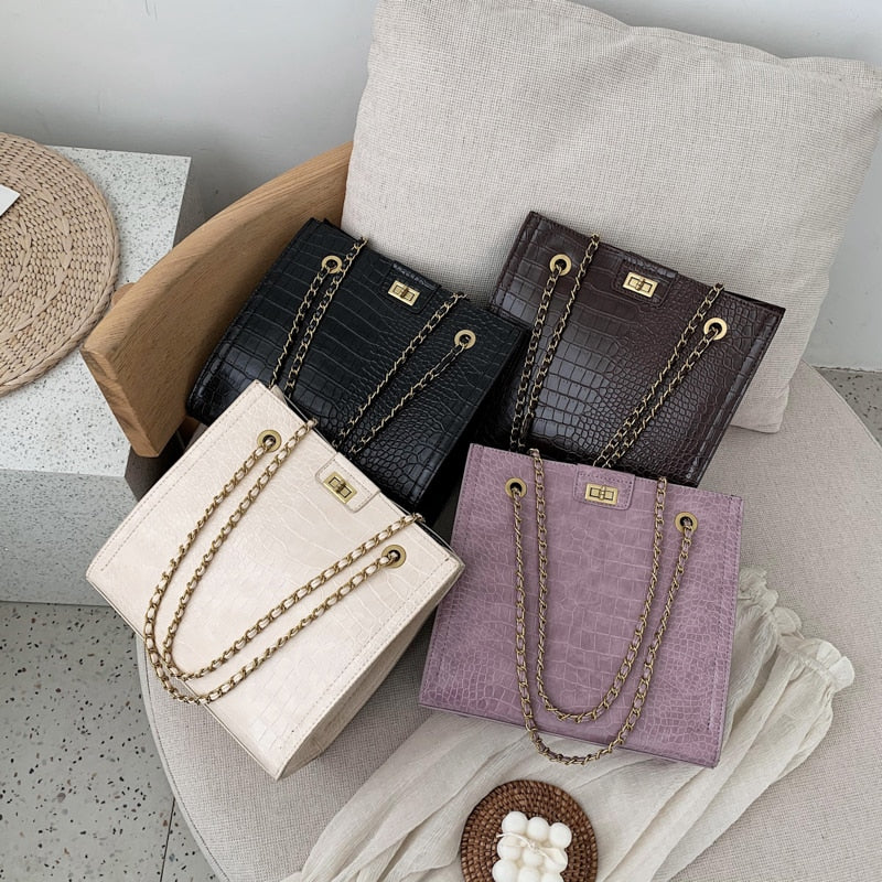Vintage Alligator Shoulder Bag Female Famous Brand Chain Crossbody Bags for Women PU Leather Handbags Large Capacity Tote Bag