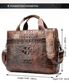 Men's briefcase genuine leather office satchel bag men's crocodile pattern portable tote for document bags 5555