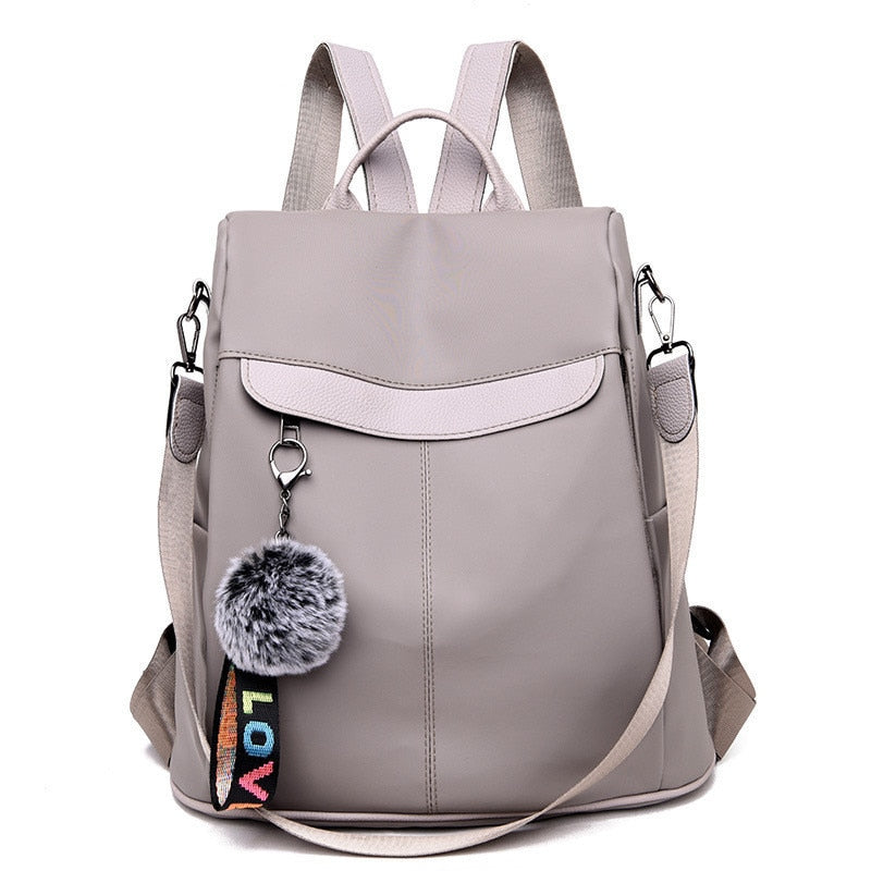 Waterproof Casual Women Backpack Purse Anti-theft Rucksack Mochila Hairball Lightweight School Shoulder Bag for Teenagers Girls