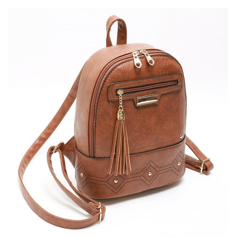 Women Casual Solid Backpack  School Bags For Teenage Girls Vintage Shoulder Bag  PU Leather Knapsack tassel and rivet Rucksack