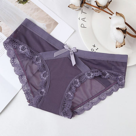 Women Lace Panties Seamless Panty Breathable Briefs For Female Cotton Crotch Low Waist Transparent Underwear Intimates Lingerie