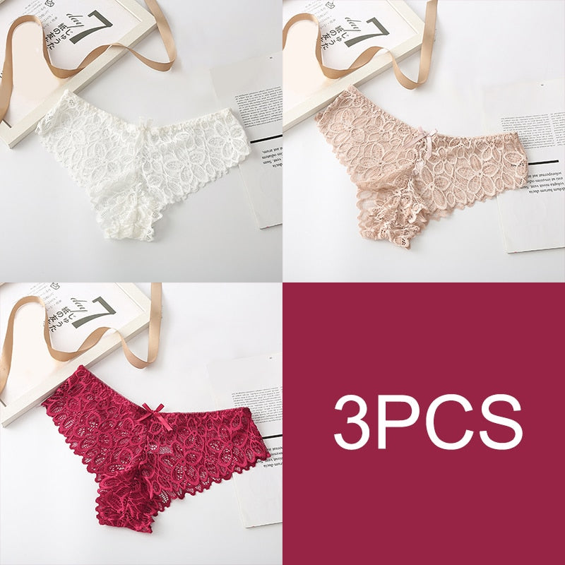 Women Sexy Lace Lingerie Low-waist Panties Transparent Hollow Out Underwear Female Pantys Lingerie Beauty Underpants 2/3pcs