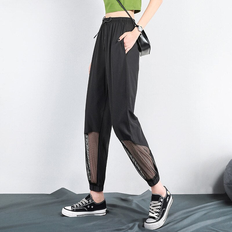 Women Sweatpants Female Summer Thin High-Waisted Loose Beam Foot Black Casual Silk Harem Pants korean Women joggers 21J