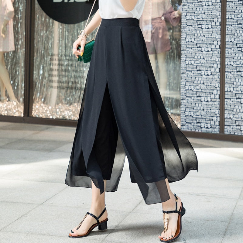 Women's Summer Wide Leg Long Trousers Casual Vintage High Waist Chiffon Side Split Loose Bohemia Skirt Pants Capris Solid 870A