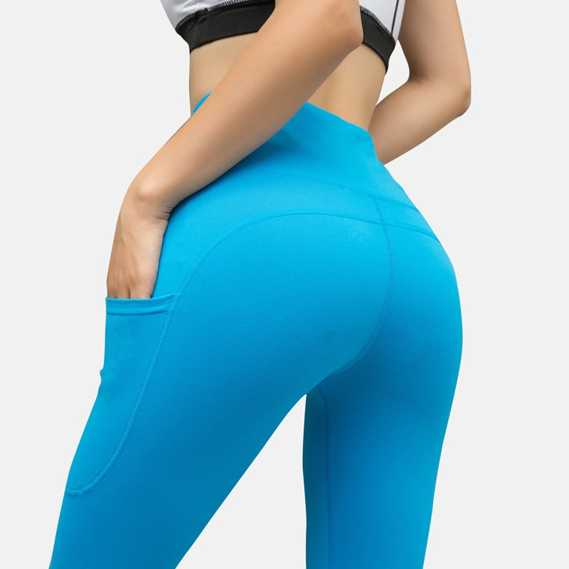 Yoga Pants Energy Leggings Women Workout Fitness Jogging Running Pants Gym Tights Stretch Sportswear With Pockets Yoga Leggings