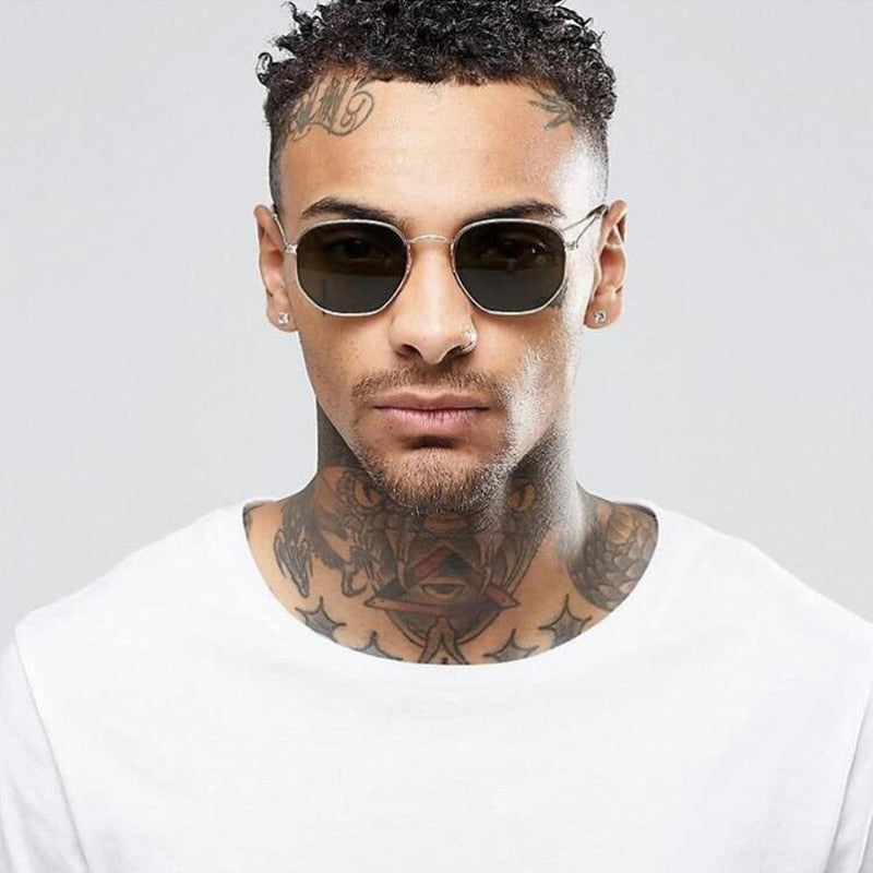 New Hexagon Glasses Fashion sunglasses Men Women Mens designer masculine classic Female Mirror Eyewear Brand Sun glasses Driving