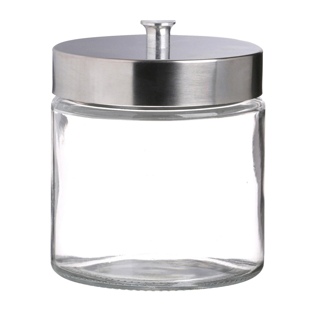 Round Glass Food Storage Jar Silver Metal Screw Lid