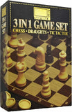 3 in 1 Chess Draughts Tic Tac Toe Board Game Pack - Bonnypack