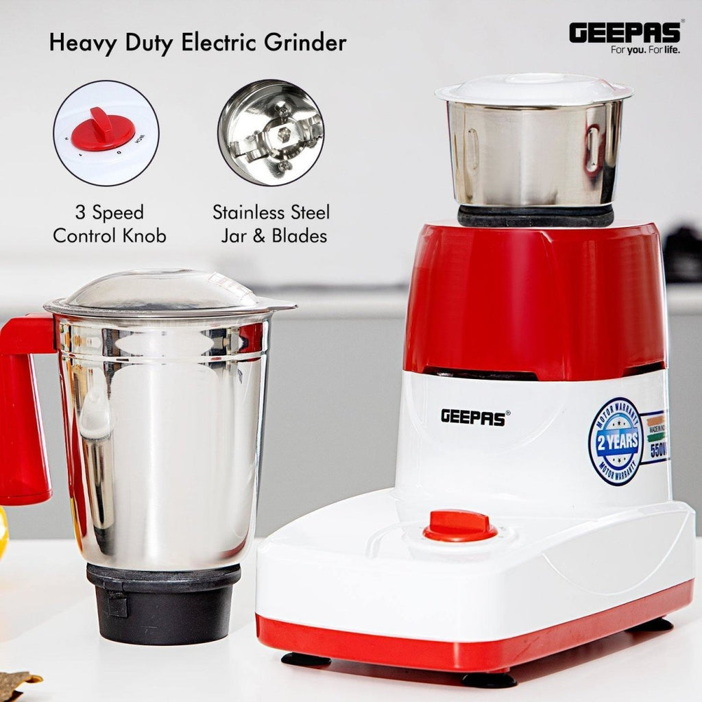 500W Grinder 2 in 1 Dry Wet Stainless Steel Blades Jar Cool Touch Base - Bonnypack