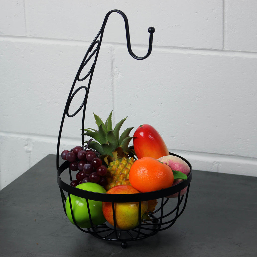 Black Flat Iron Metal Banana Fruit Bowl