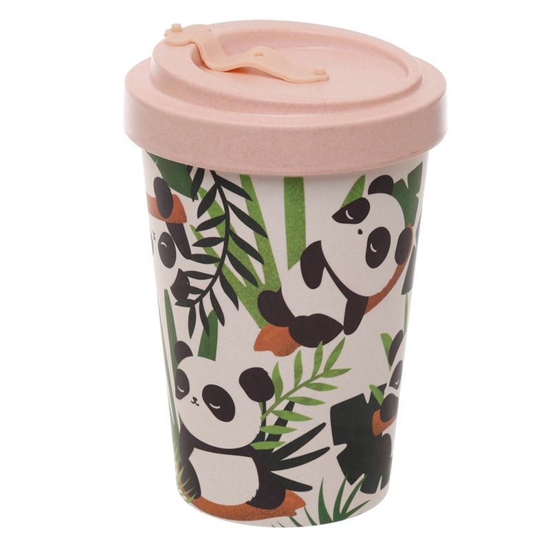 Eco-Friendly Bamboo Panda Pink Travel Mug
