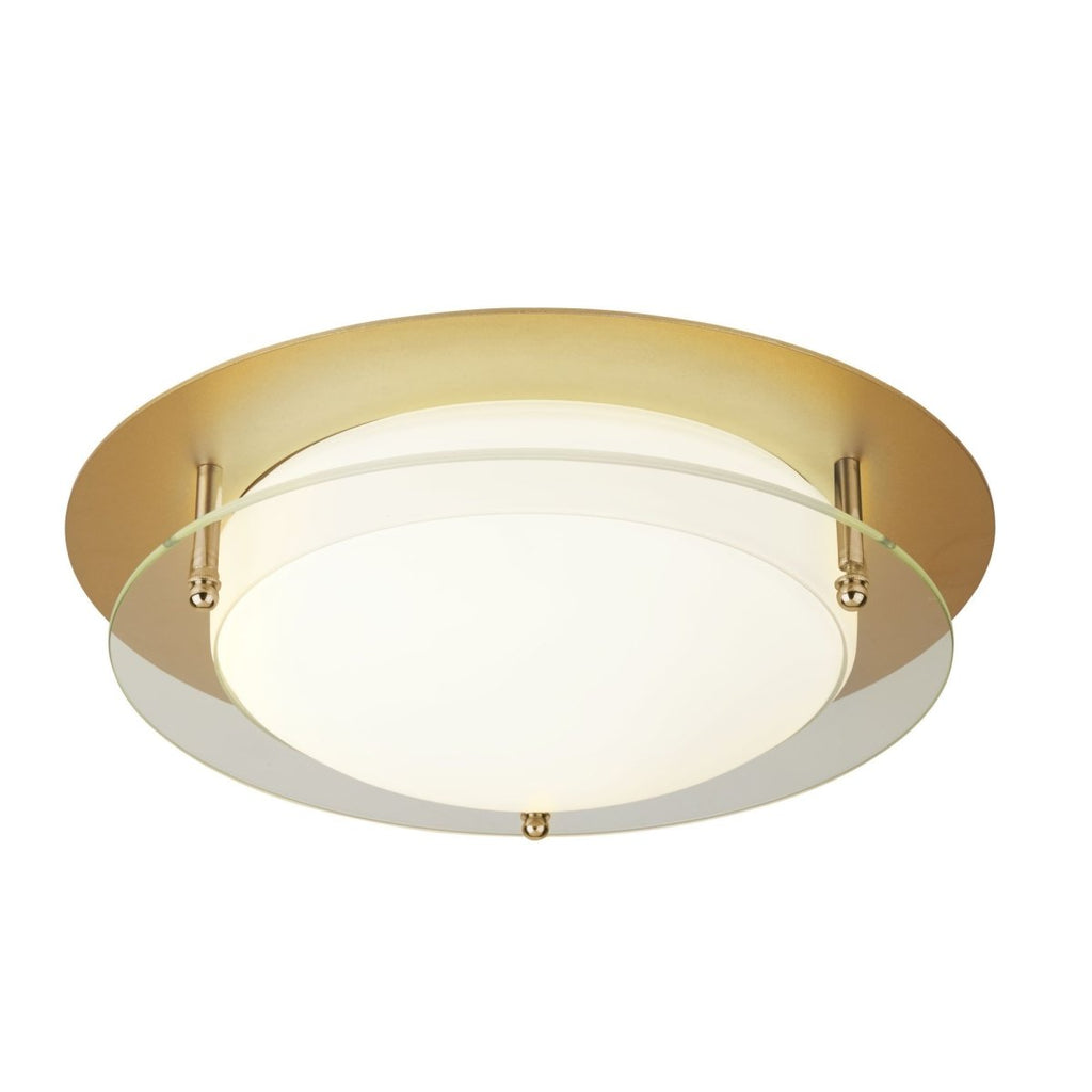 Bathroom Flush LED Light 30Cm Gold With Glass Halo Ring Ip44 - Bonnypack