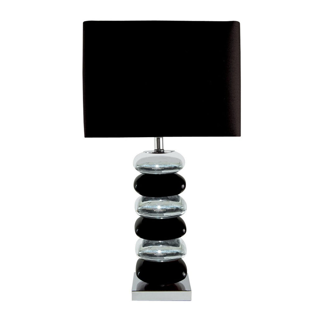 Black & Chrome Pillow Stack Desk Table Lamp Fabric Shade Bedside Office Light - Bonnypack