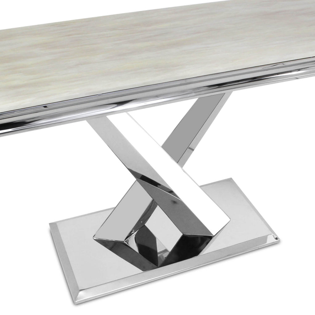 Cream Marble Top Console Table