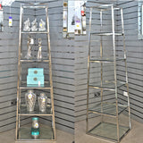 Silver Stainless Steel 5 Tier Ladder Glass Shelves