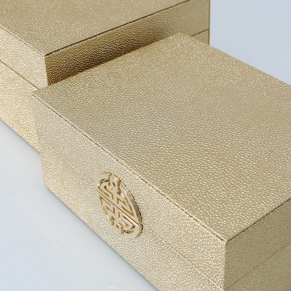 Set Of 2 Golden Faux Leather Jewellery Boxes