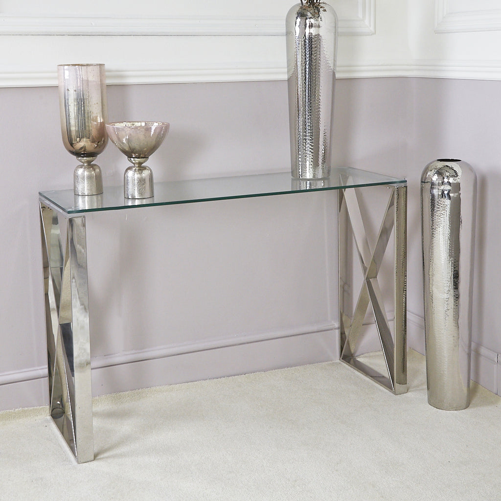 Aria Stainless Steel Modern Console Table Glass Top Bonnypack