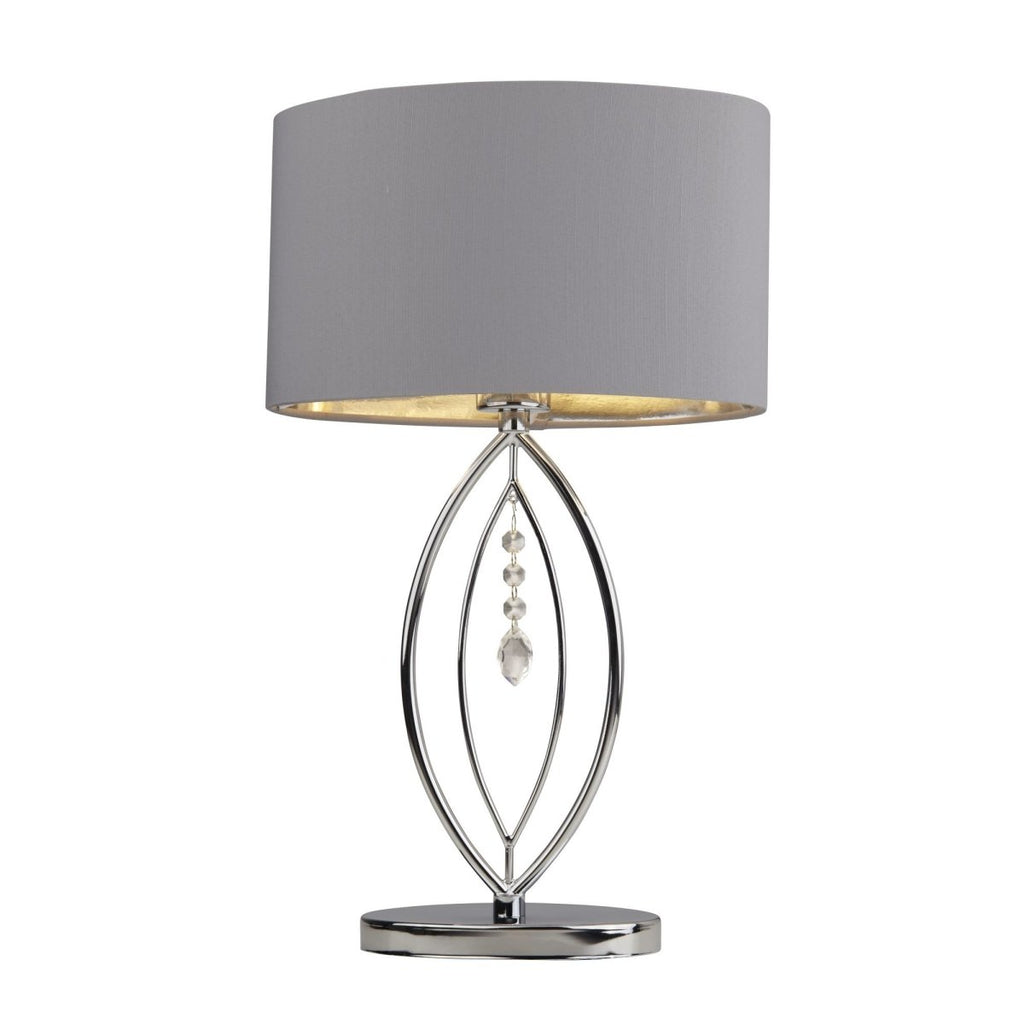 Crown Chrome Table Lamp Grey Oval Shade Silver Interior Shade - Bonnypack