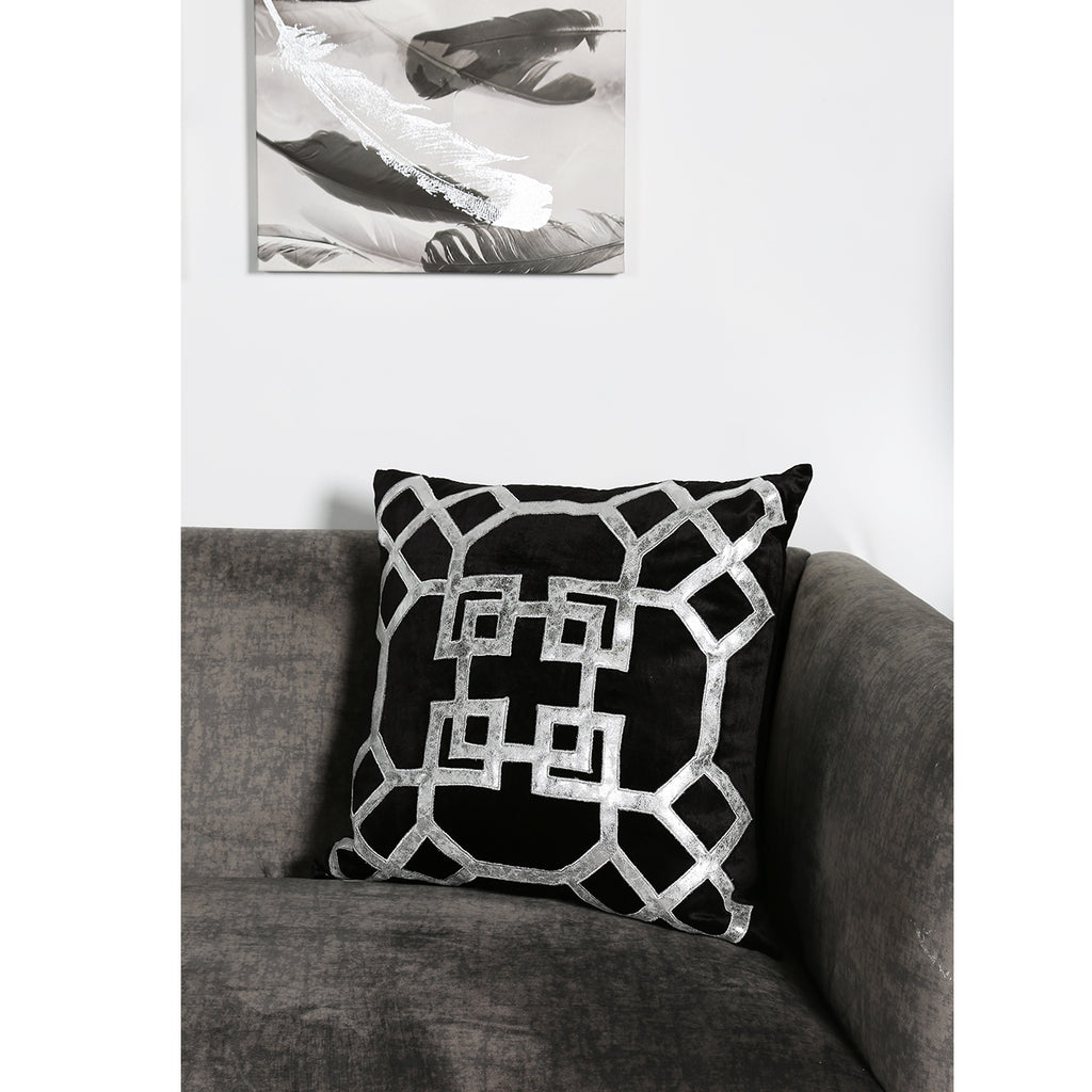 Geometric Black and Silver Velvet Cushion