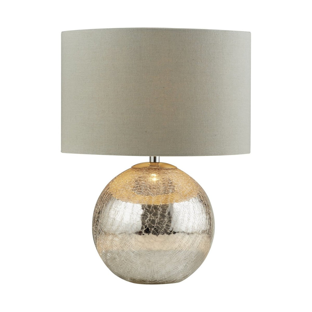 Dazzle Cracked Mirror Effect Base Grey Fabric Shade Table Lamp Light - Searchlight