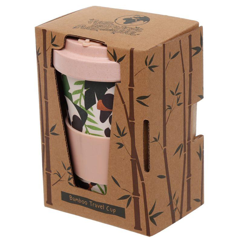 Eco-Friendly Bamboo Panda Pink Travel Mug - Bonnypack