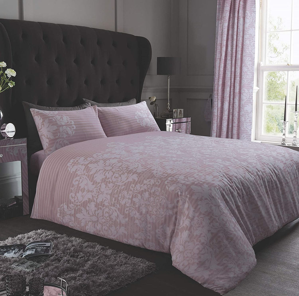 Empire Damask Blush Pink Single Duvet Cover Set