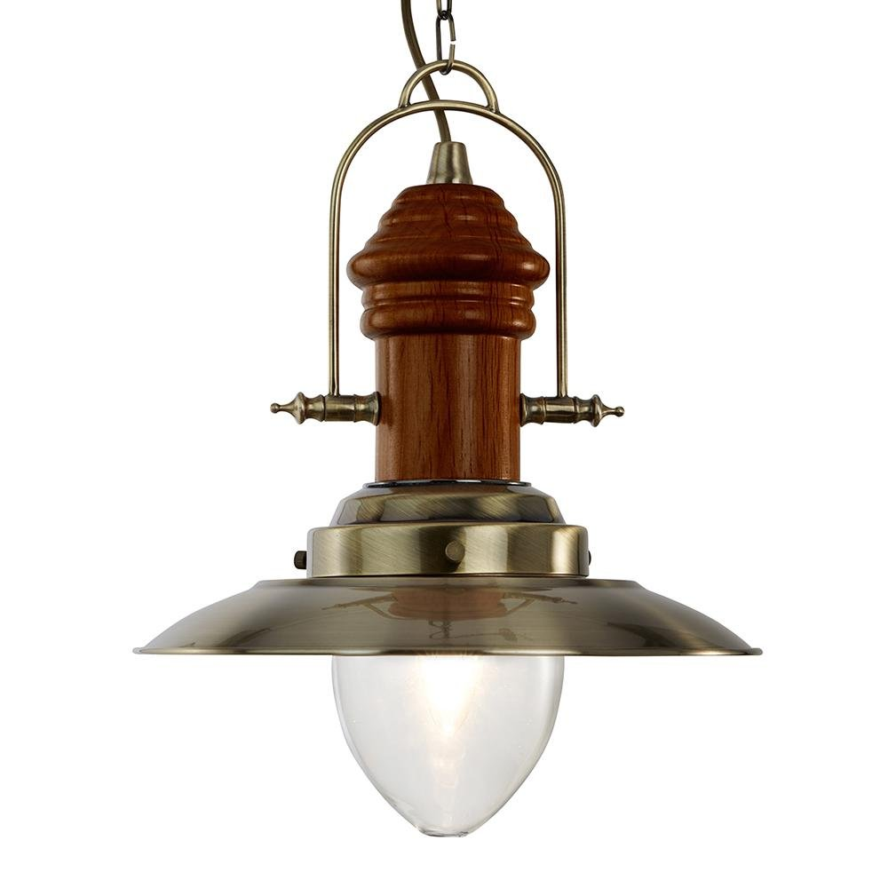 Fishermans Antique Brass Dark Wood Chandelier Fitting Pendant Light - Bonnypack