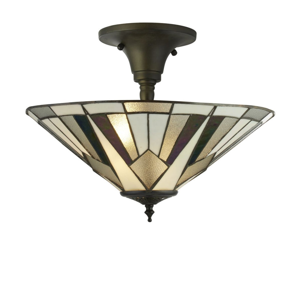 Gatsby Tiffany Semi Flush Light Bronze/Black/Clear/White/Multi - Bonnypack
