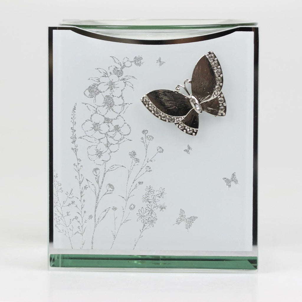 Glass Mirror Oil Burner Aroma Fragrance Silver Butterfly - Bonnypack