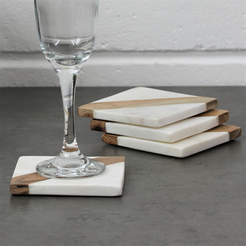 Set of 4 Wood Cream Marble Square Inlay Coasters