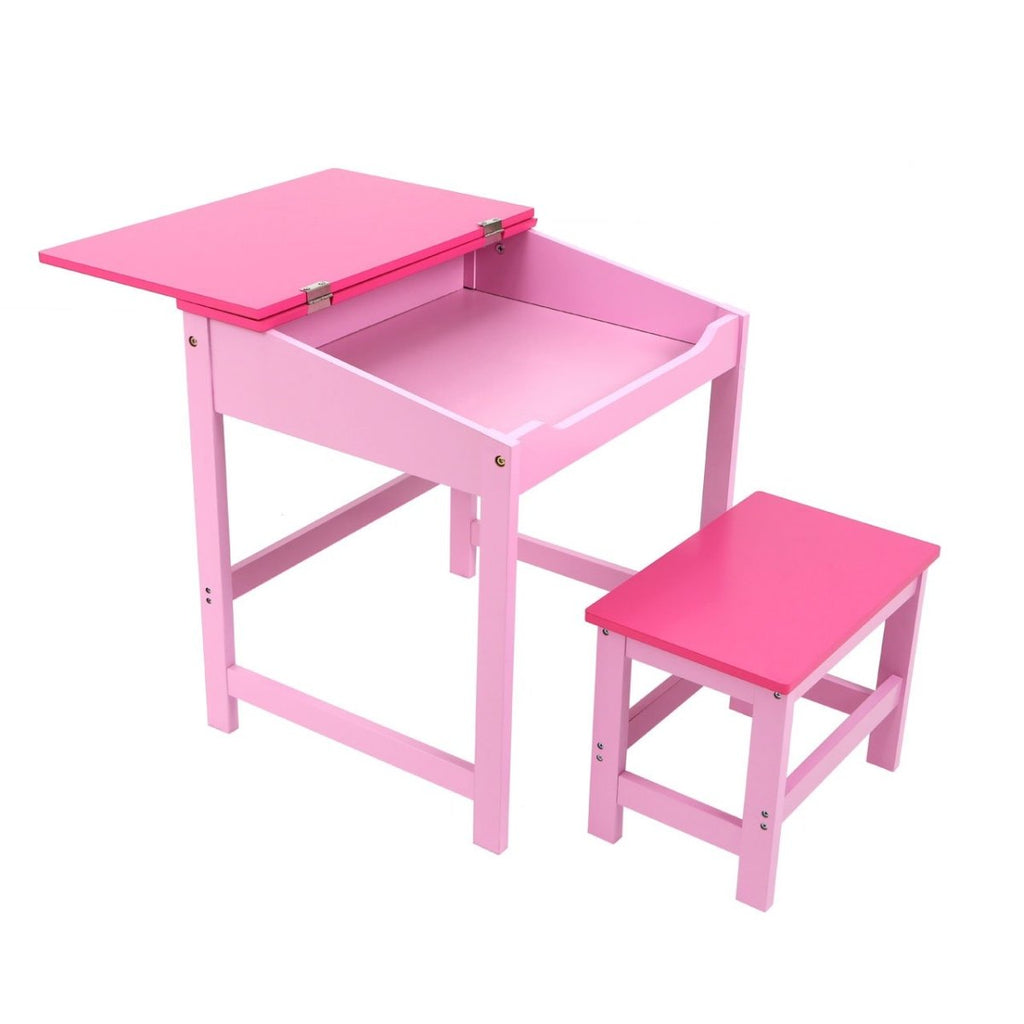 Kids Desk Table And Stool Chair Seat Furniture Set - Pink - Bonnypack
