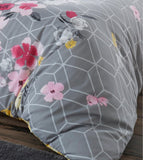 Livia Geometric Floral King Duvet Cover Set - Yellow & Grey