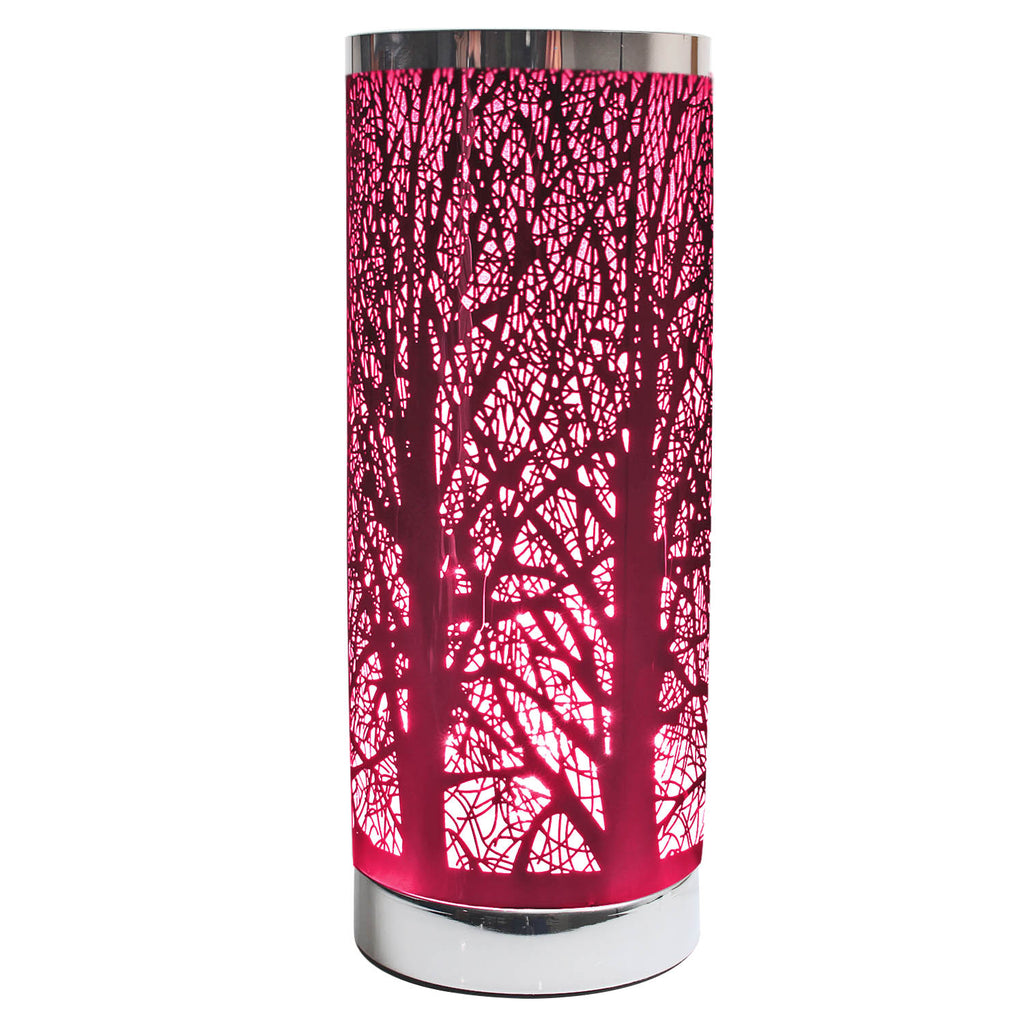 Cylinder Touch Lamp Branches Pattern - Pink